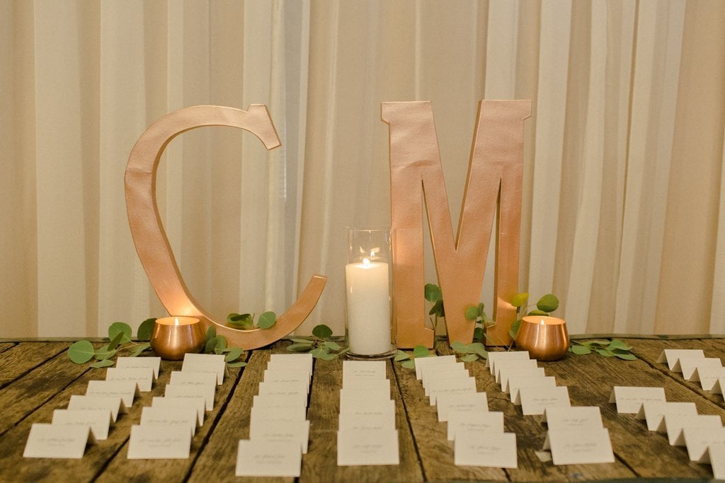 The Pennsylvanian wedding escort card table calligraphy wood and grace White and Gold Wedding at The Pennsylvanian