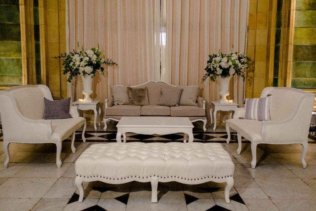 The Pennsylvanian wedding lounge chair rentals from all occasions and farmer's daughter flowers White and Gold Wedding at The Pennsylvanian