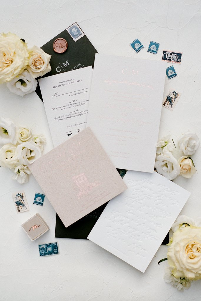 The Pennsylvanian wedding invitations by The Little Blue Chair