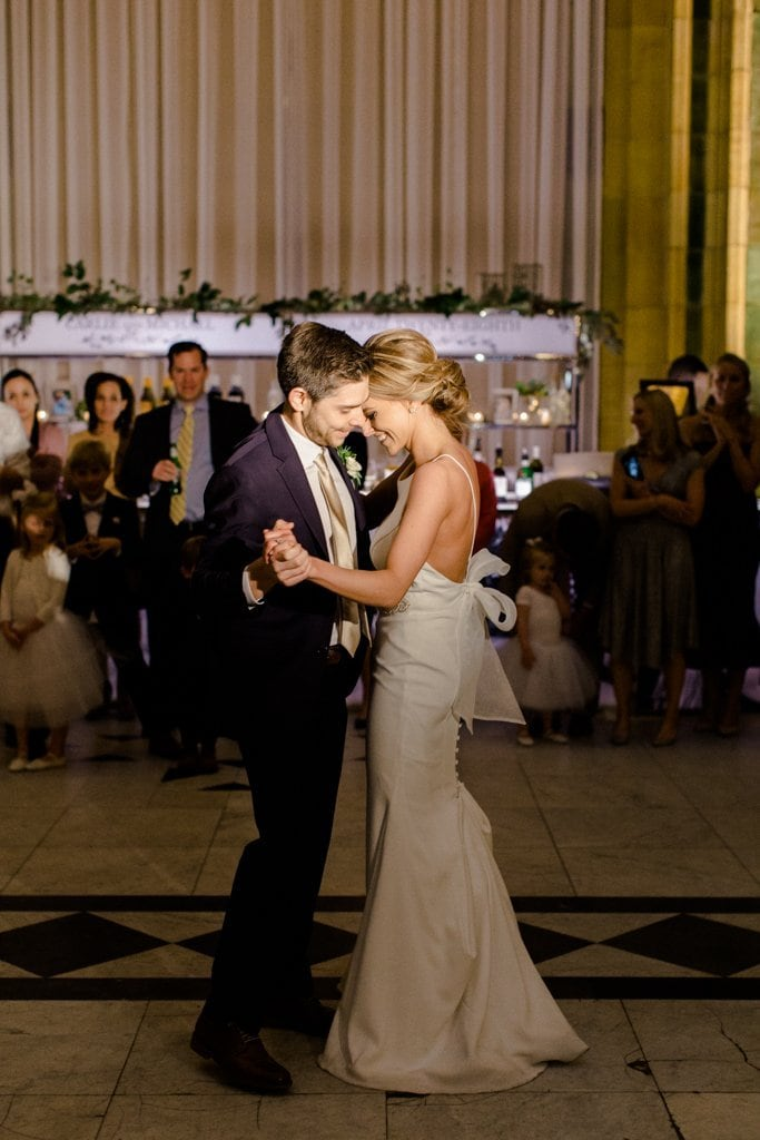 The Pennsylvanian wedding bride and groom share first dance- White and Gold Wedding at The Pennsylvanian
