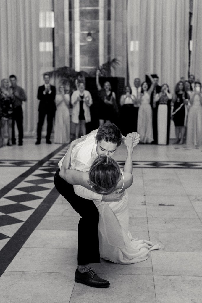 The Pennsylvanian wedding bride and groom first dance White and Gold Wedding at The Pennsylvanian