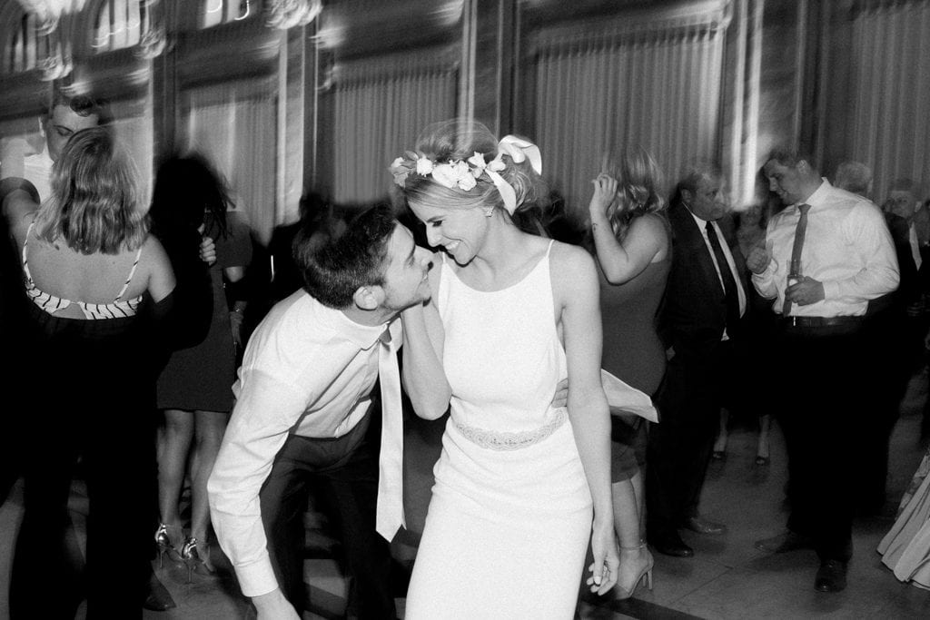 The Pennsylvanian wedding reception dancing bride and groom dancing black and white