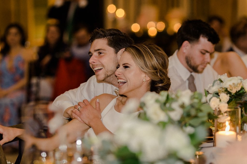 The Pennsylvanian wedding reception bride and groom laughing White and Gold Wedding at The Pennsylvanian