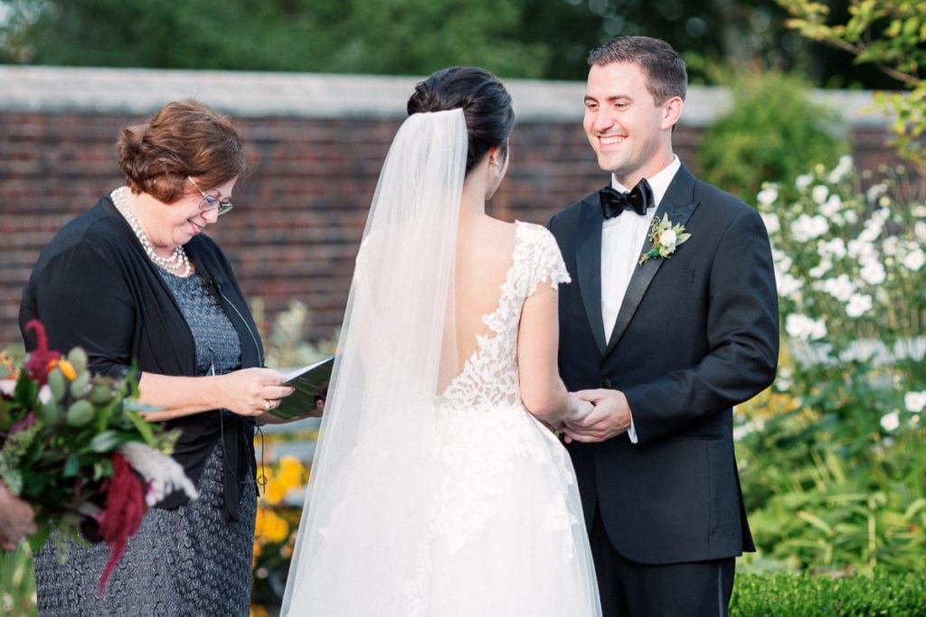 Special moment during the wedding ceremony as the groom says his vows