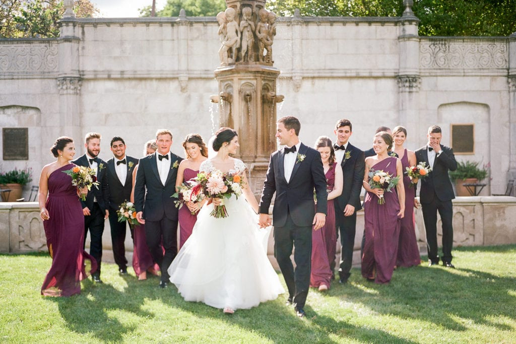 Bridal party photos in front of the fountain at the walled garden