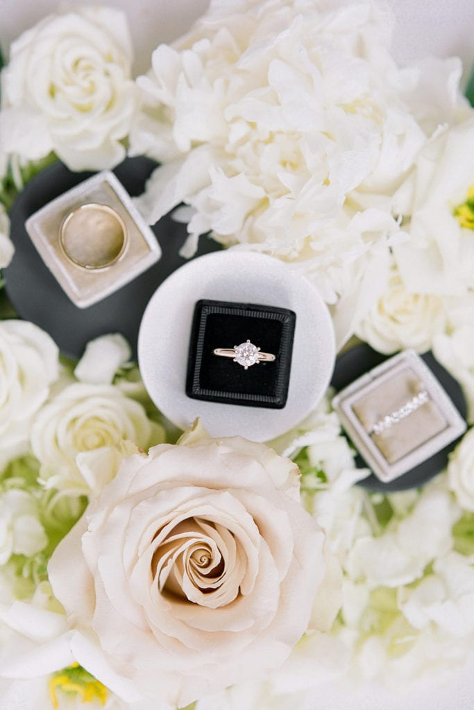 Wedding and engagement ring flat lay: Timeless Blush and Gold Wedding at The Pennsylvanian by Lauren Renee Photography