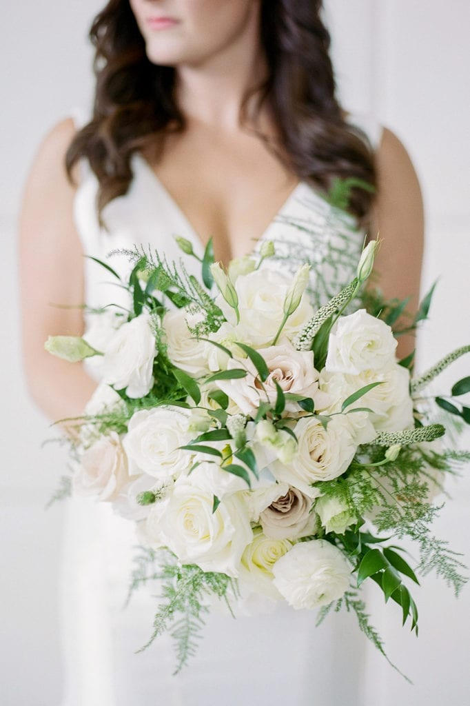 White and greenery bridal bouquet: Timeless Blush and Gold Wedding at The Pennsylvanian by Lauren Renee Photography