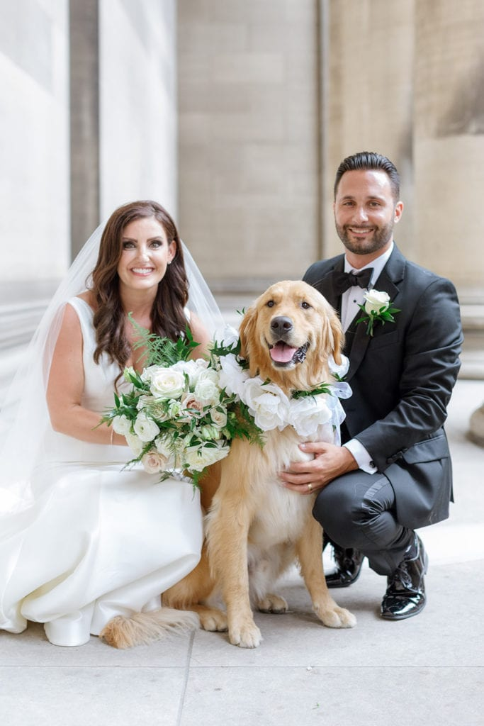 Pets at weddings: Timeless Blush and Gold Wedding at The Pennsylvanian by Lauren Renee Photography