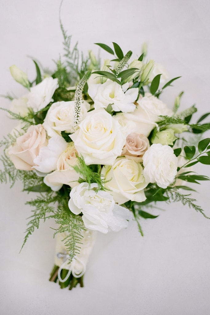Bridal bouquet with pink peonies and white roses