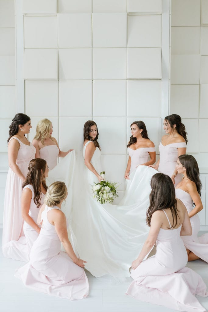 Bride surrounded by all her bridesmaids in light pink dresses