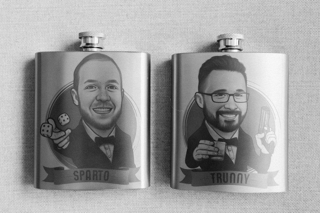 Groomsmen favors personalized flasks