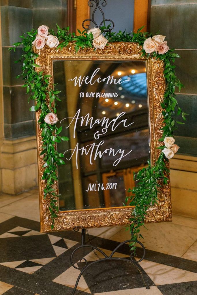 Wedding reception signage calligraphy by Oh Joyful Day