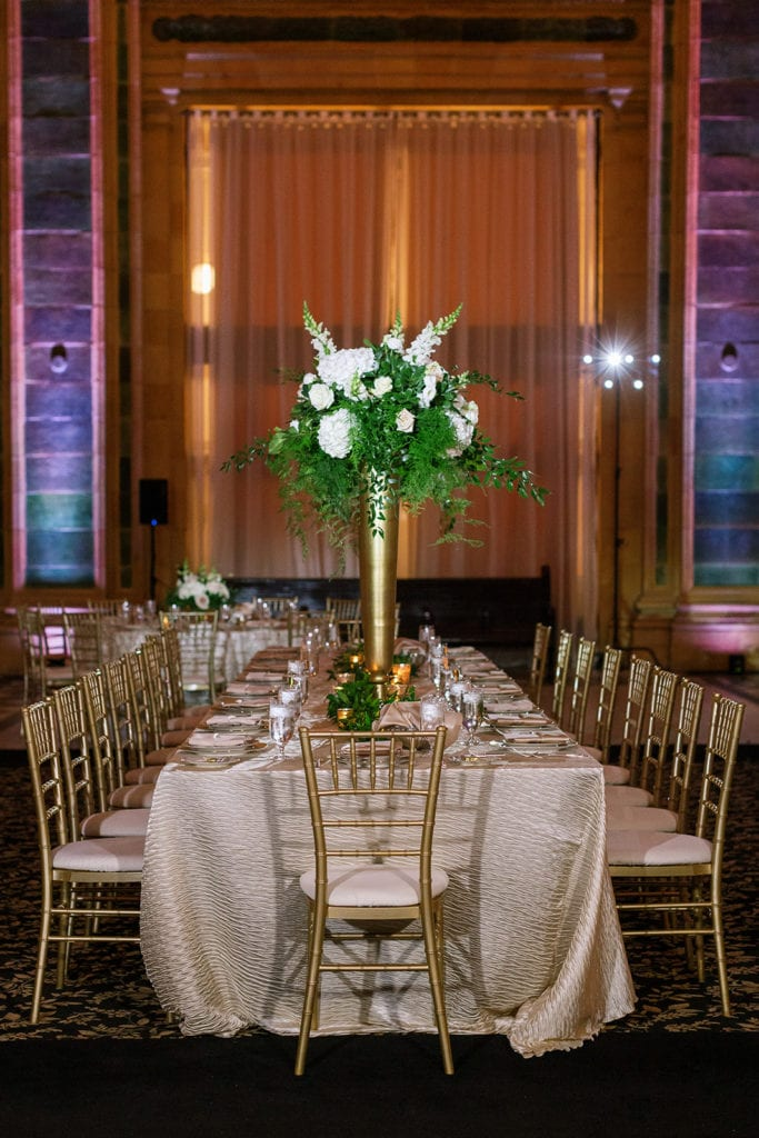 Wedding reception long head table at the Pennsylvanian blush and gold