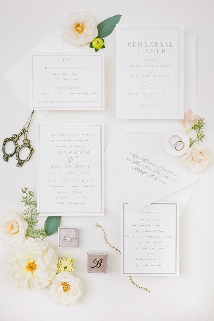 Wedding Invitation Suite: Romantic Mauve Carnegie Music Hall Wedding captured by Lauren Renee