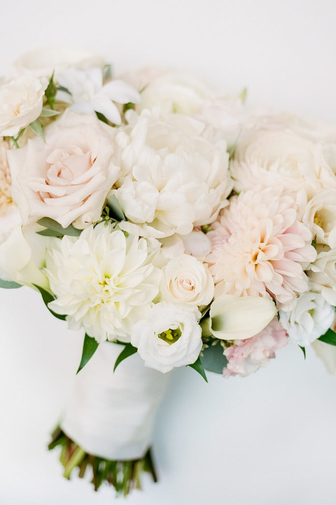Blush Pink and White Wedding Flowers: Romantic Mauve Carnegie Music Hall Wedding captured by Lauren Renee