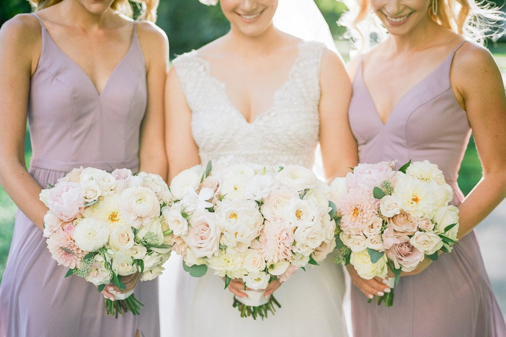 Pink and White Wedding Bouquets by The Farmers Daughter: Romantic Mauve Carnegie Music Hall Wedding captured by Lauren Renee