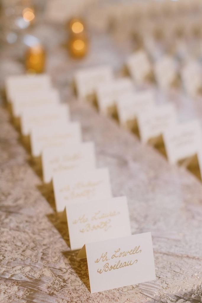 Ivory and Gold Wedding Escort Cards: Pittsburgh Wedding captured by Pittsburgh Wedding Photographer Lauren Renee