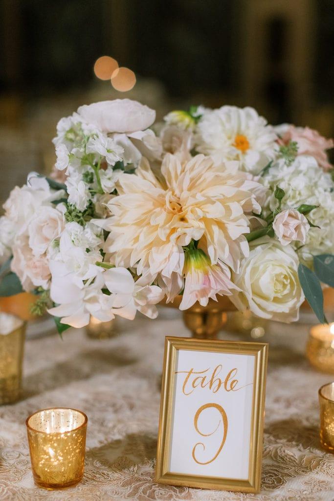 Gold Wedding Table Numbers: Pittsburgh Wedding captured by Pittsburgh Wedding Photographer Lauren Renee