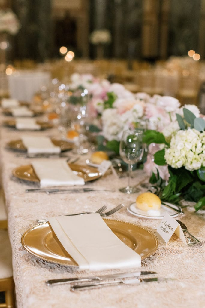 Gold Wedding Charger Plates: Pittsburgh Wedding captured by Pittsburgh Wedding Photographer Lauren Renee