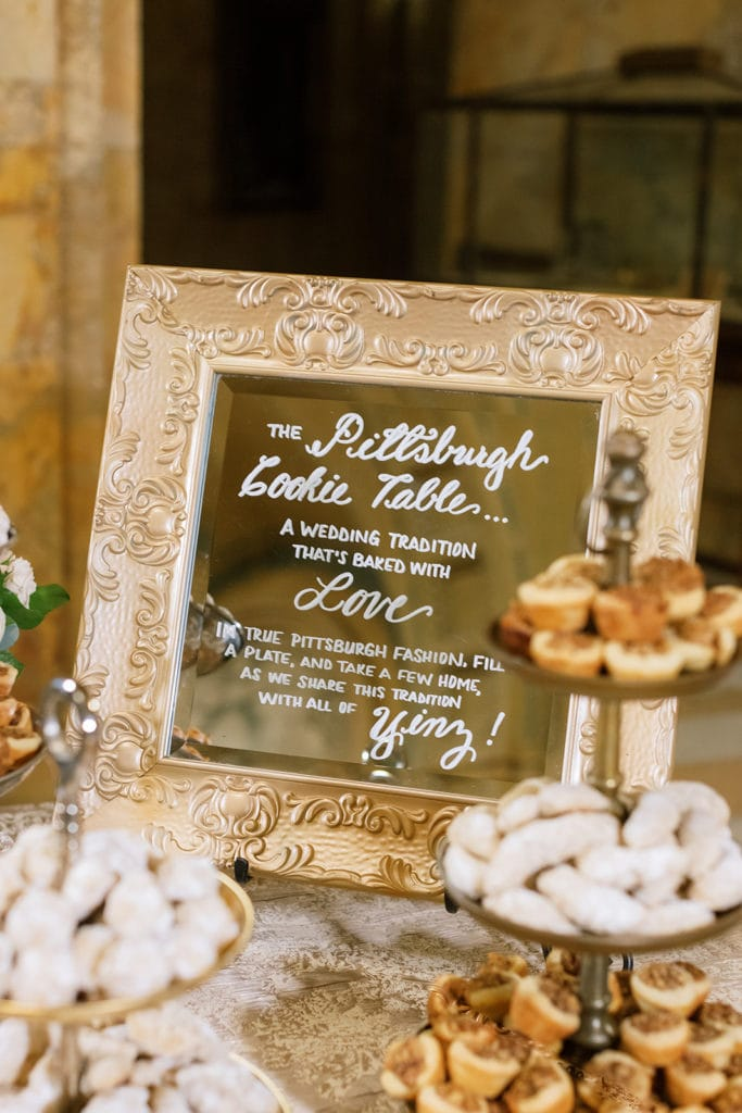 Pittsburgh Cookie Table Sign: Pittsburgh Wedding captured by Pittsburgh Wedding Photographer Lauren Renee