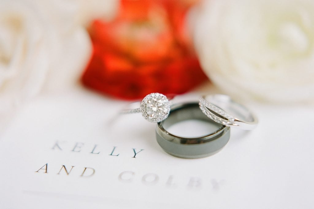Detailed wedding band and engagement ring shot on invitation