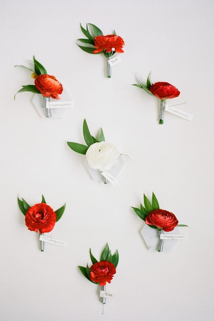 Sapphire and Lace Red Wedding Boutonnieres for Modern Fall Wedding at The Pennsylvanian