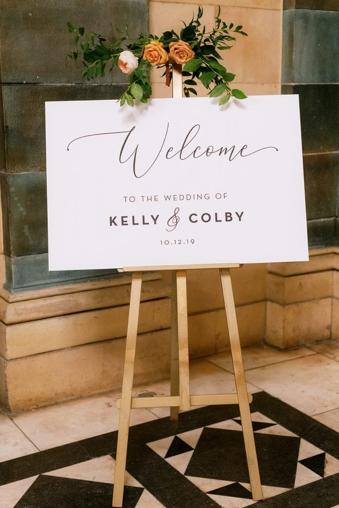 Wedding welcome sign: Fall Pittsburgh wedding at The Pennsylvanian captured by Pittsburgh wedding photographer Lauren Renee