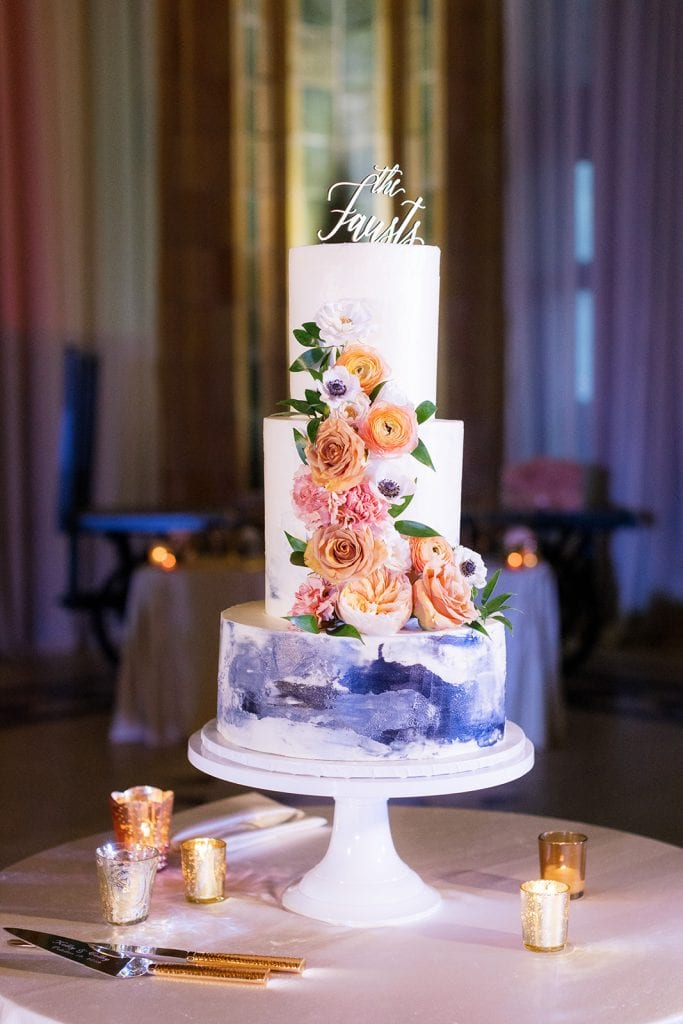 Rania's Catering wedding cake design captured by Pittsburgh wedding photographer Lauren Renee