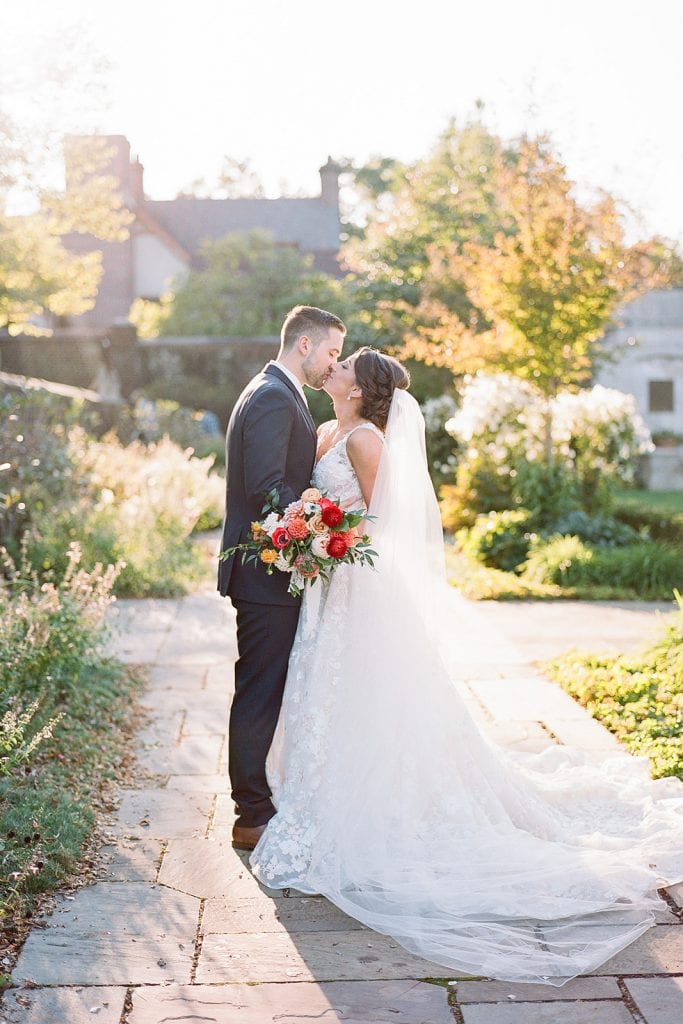 Outdoor wedding portraits for modern fall Pittsburgh wedding captured by Pittsburgh wedding photographer Lauren Renee