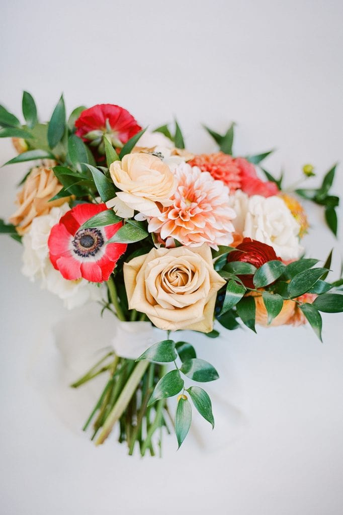 Sapphire and Lace Red and Peach Wedding Bouquet for Modern Fall Wedding at The Pennsylvanian