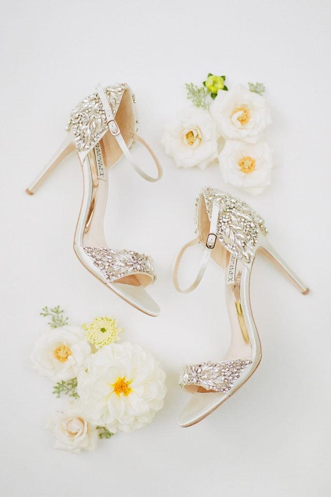 Gold Badgley Mischka high heel wedding shoes