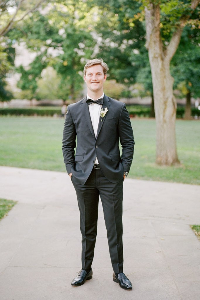 Groom portraits wearing a tux from Ted Baker