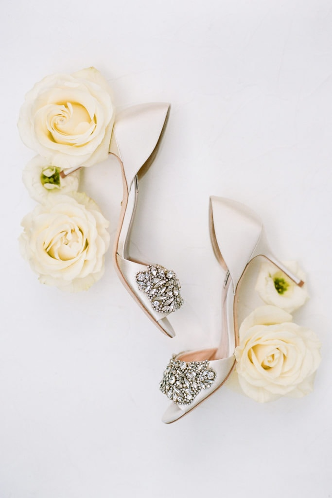 Embellished Bridal Shoes: White and Gold Pittsburgh Field Club Wedding captured by Lauren Renee