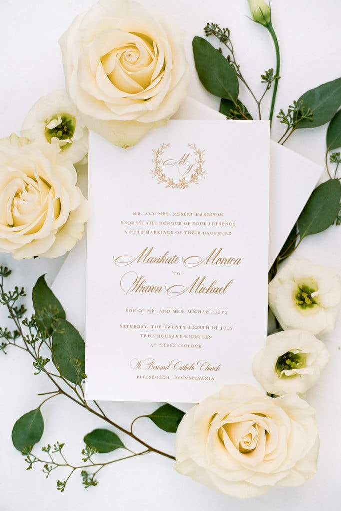White and gold wedding invitation design: White and Gold Pittsburgh Field Club Wedding captured by Lauren Renee