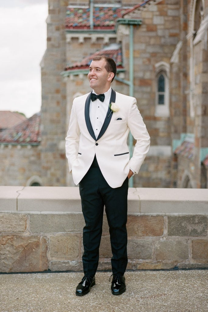 Grooms Portrait: White and Gold Pittsburgh Field Club Wedding captured by Lauren Renee