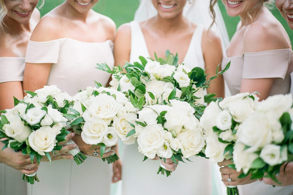 Bridal Party Bouquets: White and Gold Pittsburgh Field Club Wedding captured by Lauren Renee