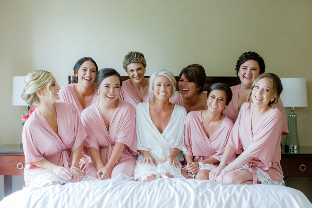 Bridal Party in Pink Robes: White and Gold Pittsburgh Field Club Wedding captured by Lauren Renee