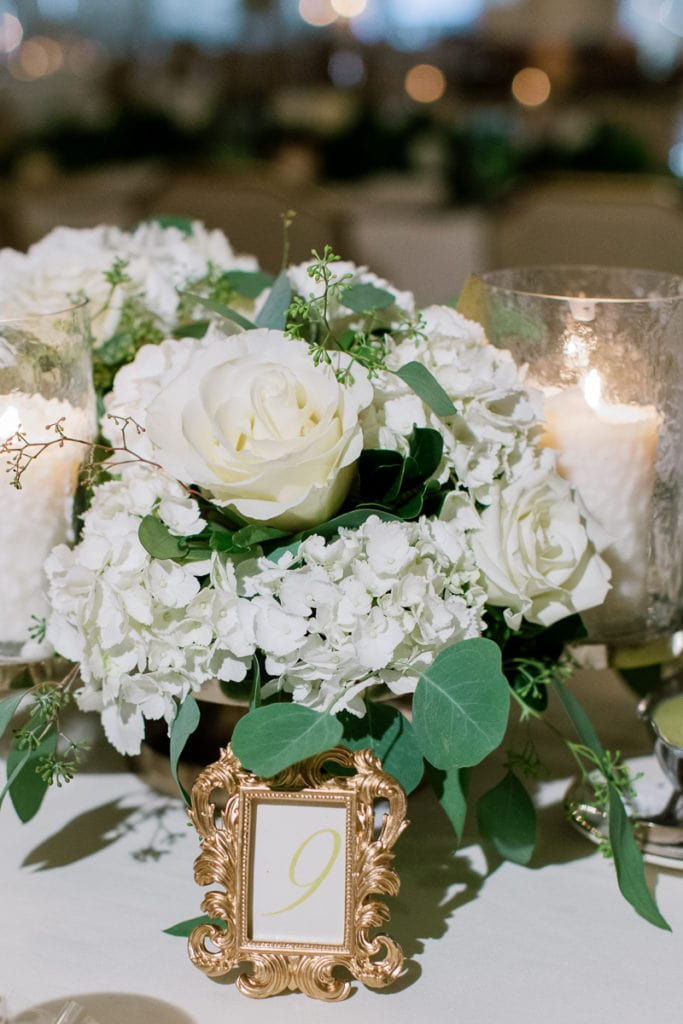 White and Greenery Wedding Centerpieces: Pittsburgh Field Club Wedding by Pittsburgh Photographer Lauren Renee