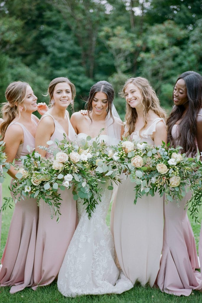 Pink bridesmaids dresses: Outdoor Fall Seven Springs Wedding captured by Pittsburgh Wedding Photographer Lauren Renee