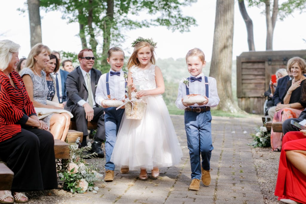 Flower girl and ring bearer: Outdoor Fall Seven Springs Wedding captured by Pittsburgh Wedding Photographer Lauren Renee