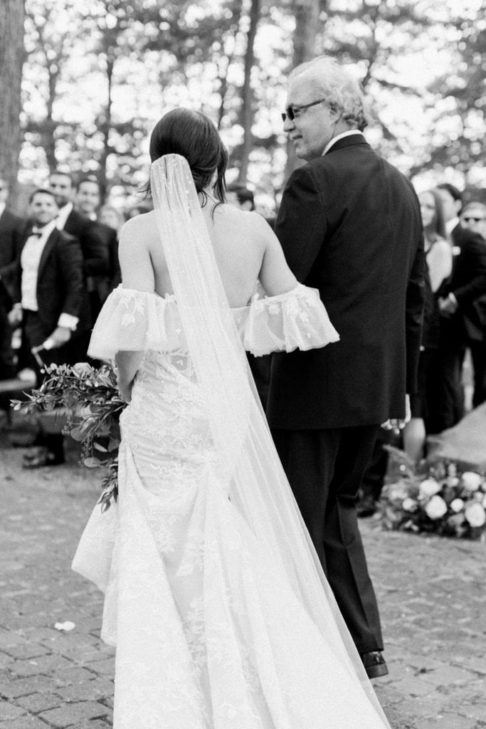 Black and white wedding photo: Outdoor Fall Seven Springs Wedding captured by Pittsburgh Wedding Photographer Lauren Renee