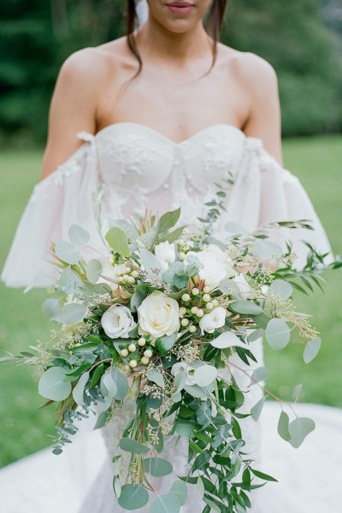 Green and white wedding bouquet: Outdoor Fall Seven Springs Wedding captured by Pittsburgh Wedding Photographer Lauren Renee