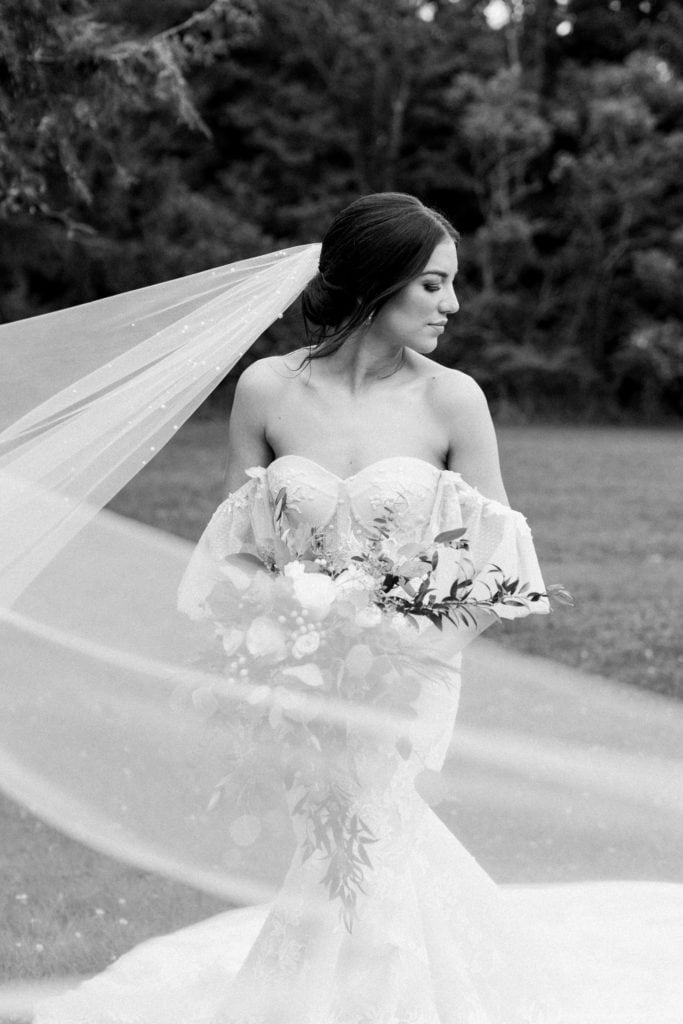 Black and white bridal portrait: Outdoor Fall Seven Springs Wedding captured by Pittsburgh Wedding Photographer Lauren Renee