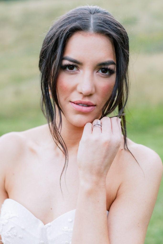Fine art bridal portrait: Outdoor Fall Seven Springs Wedding captured by Pittsburgh Wedding Photographer Lauren Renee