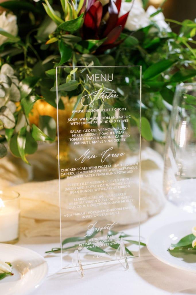 Acrylic wedding menu design: Outdoor Fall Seven Springs Wedding captured by Pittsburgh Wedding Photographer Lauren Renee