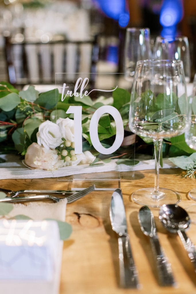 Acrylic wedding table number: Outdoor Fall Seven Springs Wedding captured by Pittsburgh Wedding Photographer Lauren Renee