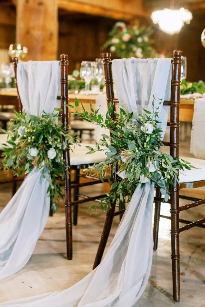 Wedding chair decor: Outdoor Fall Seven Springs Wedding captured by Pittsburgh Wedding Photographer Lauren Renee