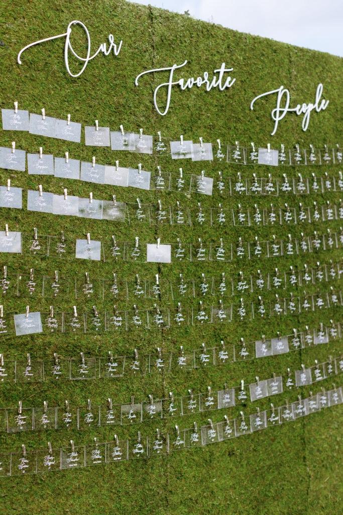 Wedding escort card display: Outdoor Fall Seven Springs Wedding captured by Pittsburgh Wedding Photographer Lauren Renee