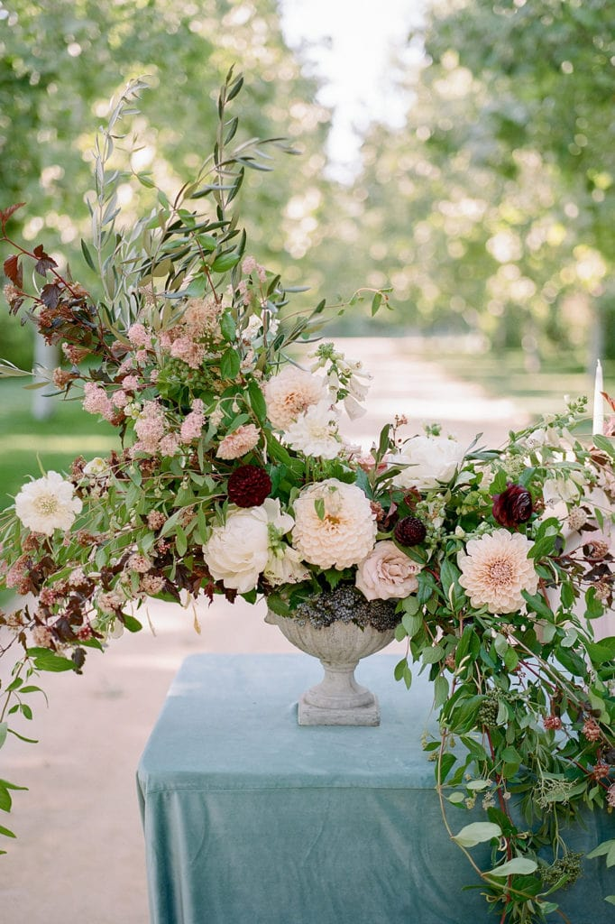 Ceremony Arch with flowers by Emily Reynold Design: Kestrel Park California Wedding Inspiration Styled Shoot captured by Pittsburgh Wedding Photographer Lauren Renee