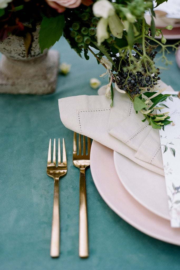 Gold flatware Ceremony Arch with flowers by Emily Reynold Design: Kestrel Park California Wedding Inspiration Styled Shoot captured by Pittsburgh Wedding Photographer Lauren Renee